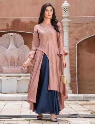 Rose pink silk fabric designer long kurti