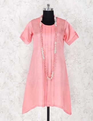 Rose pink solid kurti