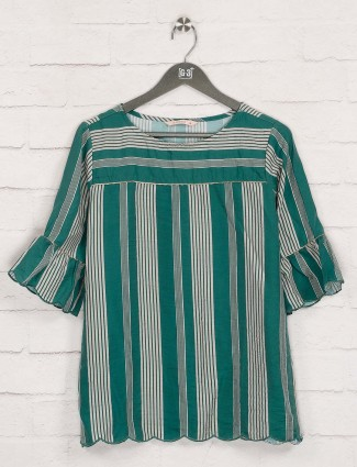 Round neck green stripe top