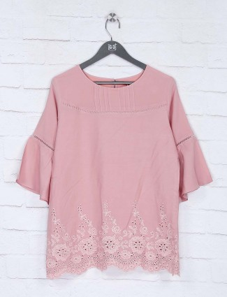 Round neck pink color cotton top