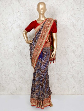 Royal blue bandhej sari