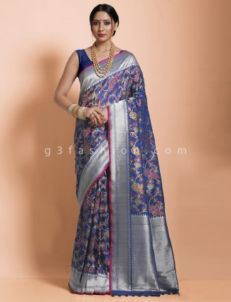 Royal blue beautiful banarasi silk saree