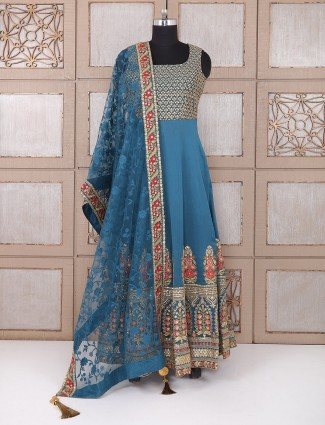 Royal Blue color wedding silk anarkali suit