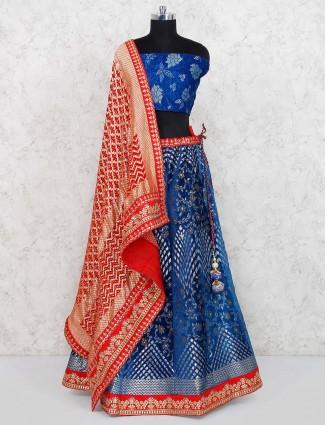 Royal blue colored velvet semi stitched lehenga choli