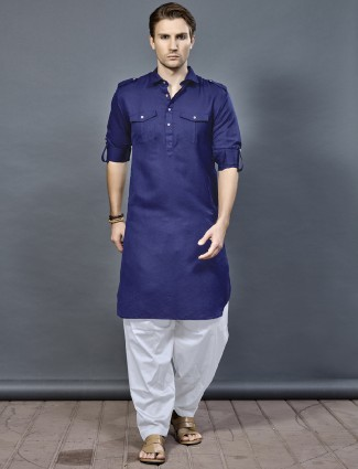 Royal blue cotton fabric pathani suit