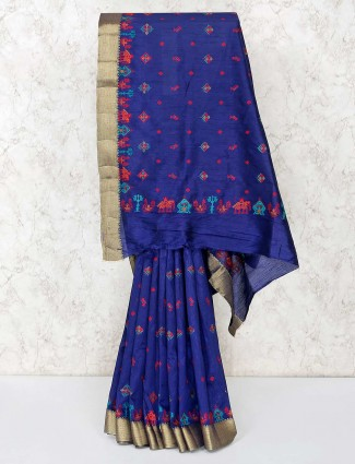 Royal blue cotton saree