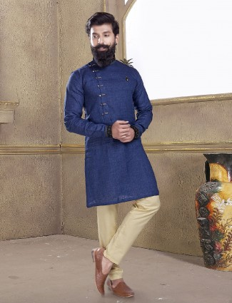 Royal blue cotton silk kurta suit