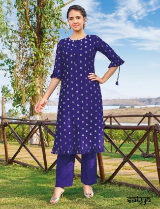 Royal blue cotton silk kurti