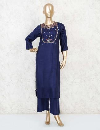 Royal blue cotton silk palazzo set