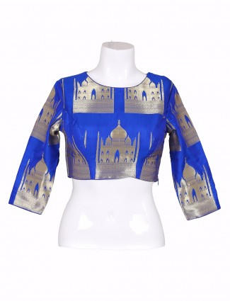 Royal blue dressy silk ready made blouse