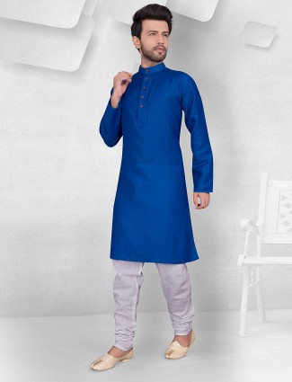 Royal blue festive function cotton kurta suit