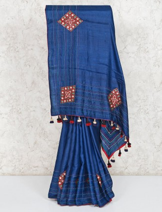 Royal blue festive wear cotton silk saree