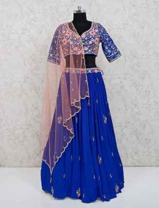 Royal blue georgette party wear lehenga choli