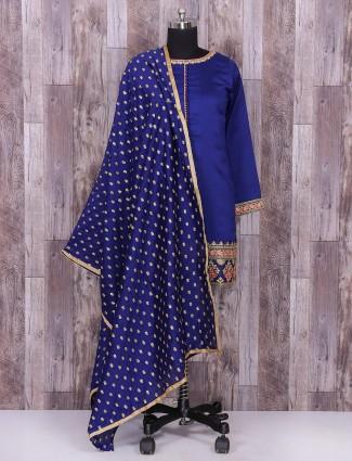 Royal blue silk festive wear punjabi suit