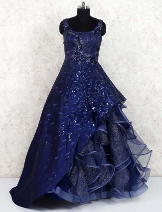 Royal blue silk hued designer gown
