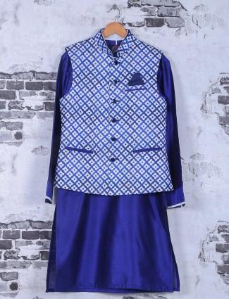 Royal blue silk wedding wear waistcoat set