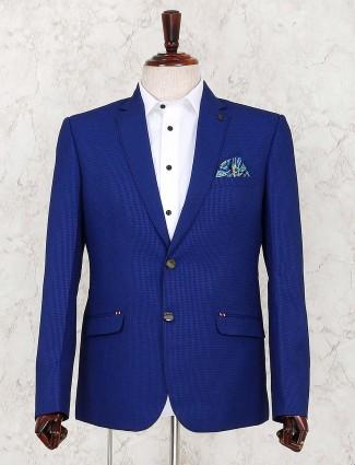 Royal blue solid notch lapel collar blazer