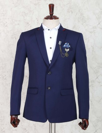 Royal blue solid terry rayon blazer