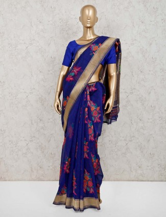 Royal blye saree in handloom cotton