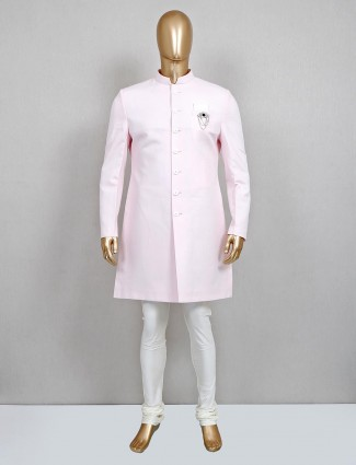 Royal pink solid cotton silk sherwani set