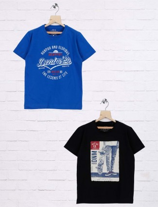 Ruff black and royal blue printed pack of 2 t-shirt