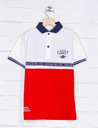 Ruff casual solid red and white t-shirt