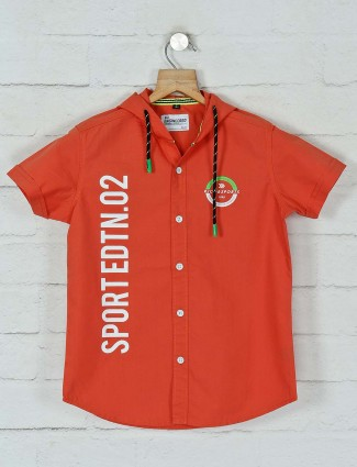 Ruff cotton casual wear orange printed shirt