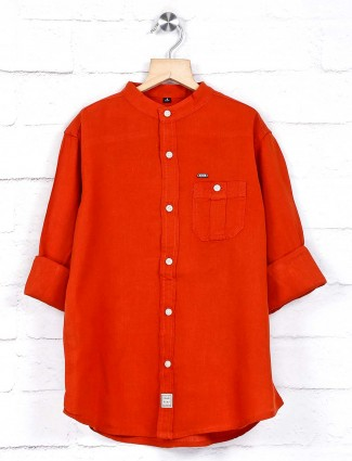 Ruff cotton orange solid shirt