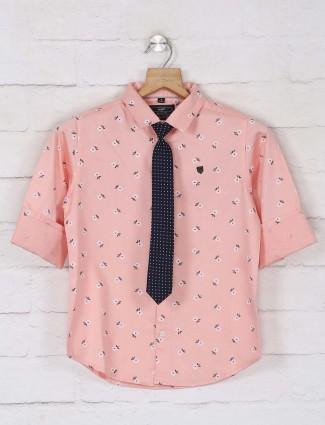 Ruff full sleeves peach printed shirt