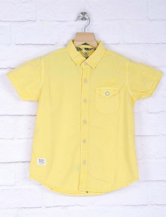 Ruff lemon yellow solid shirt