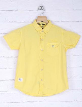 Ruff lemon yellow solid shirt