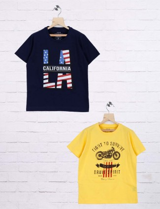 Ruff navy and yellow boys printed pack of 2 t-shirt