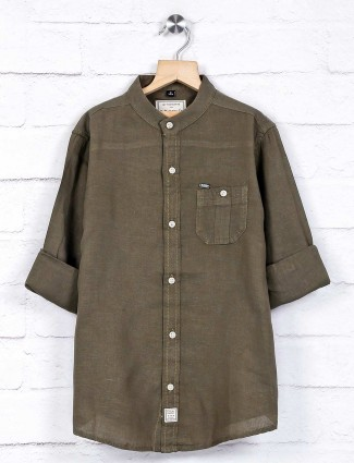 Ruff olive colour solid boys shirt
