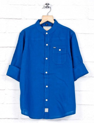 Ruff patch pocket royal blue shirt