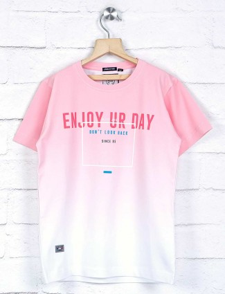 Ruff pink shaded printed boys t-shirt