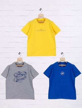 Ruff presented royal blue,grey and yellow pack of 3 t-shirt