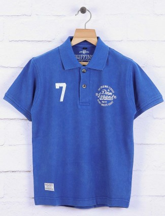 Ruff royal blue solid t-shirt