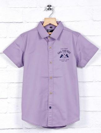 Ruff slim collar violet solid shirt