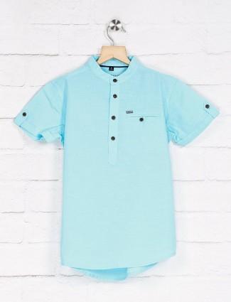 Ruff solid aqua cotton shirt