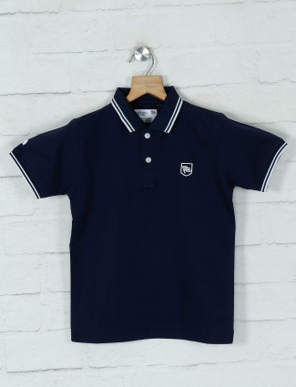 Ruff solid navy casual cotton t-shirt