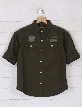 Ruff solid olive casual wear shirt