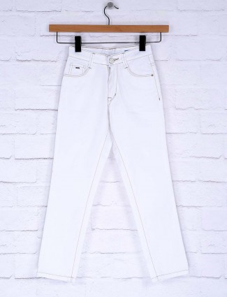 Ruff white colored solid denim