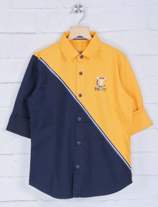 Ruff yellow and navy solid shirt