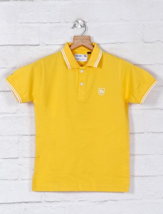 Ruff yellow solid cotton casual wear t-shirt