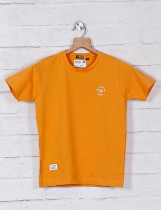 Ruff orange solid cotton round neck t-shirt