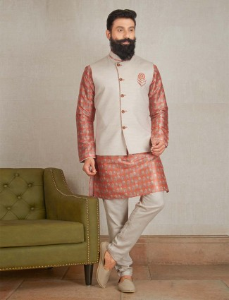 Rust orange and ceram colored party wear waistcoat set
