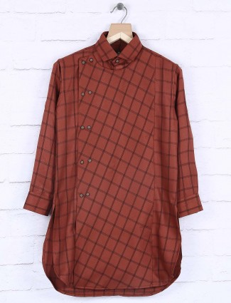 Rust orange cotton fabric checks kurta