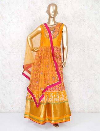 Rust orange cotton silk anakali suit for wedding function