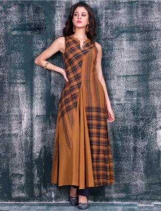Rust orange designer printed cotto  kurti