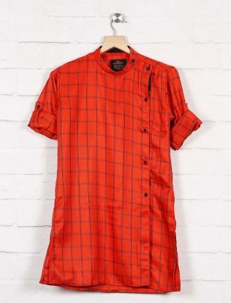 Rust orange hue checks pattern kurta
